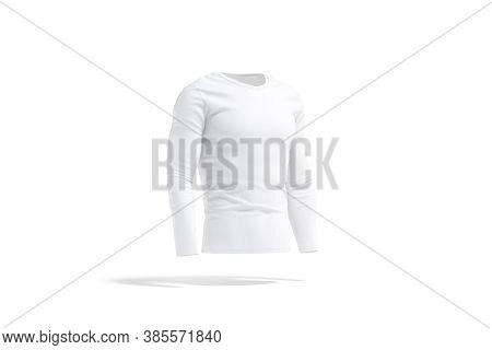 Blank White Longsleeve T-shirt Mock Up, Side View, 3d Rendering. Empty Casual Cloth Sweatshirt Mocku