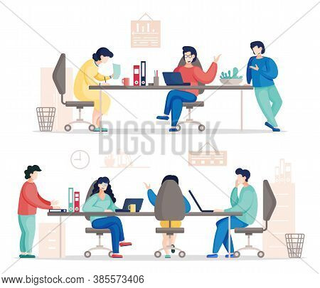 Flat Vector Of Busy Business People Working In Office. Colleagues Communicating During Work. Busines