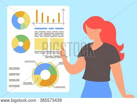 Red-haired Woman Analysing Graphs, Diagrams At White Board. Cartoon Character Presenting Financial P