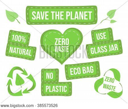 Zero Waste Elements And Lettering. Eco Concept Use Safe Packaging. Set Of Inscriptions About Durable