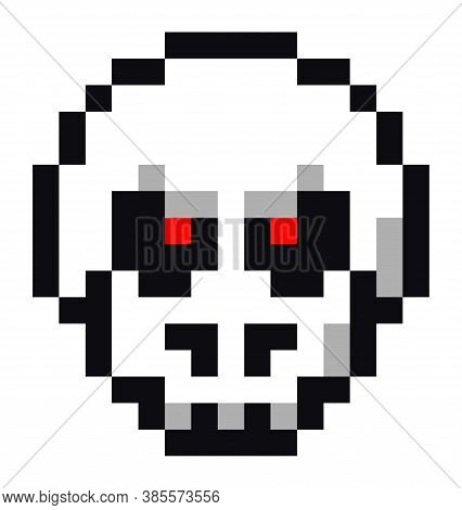 Pixel Art Style Isolated Vector Cranium For Retro Game. White Scull With Red Burning Eyes. Simplisti
