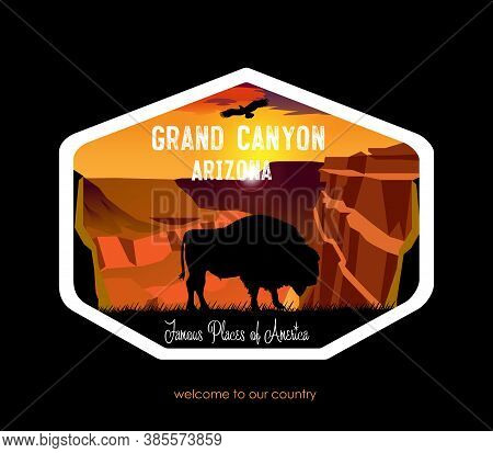 Vector Drawing. View Of The Grand Canyon. Evening Sky With A Lone Bison. Arizona