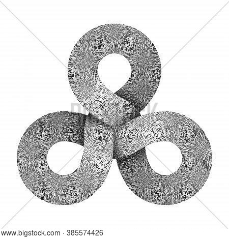 Stippled Triquetra Knot Sign Made Of Three Combined Rings. Textured Modern Stylization Of Celtic Tri