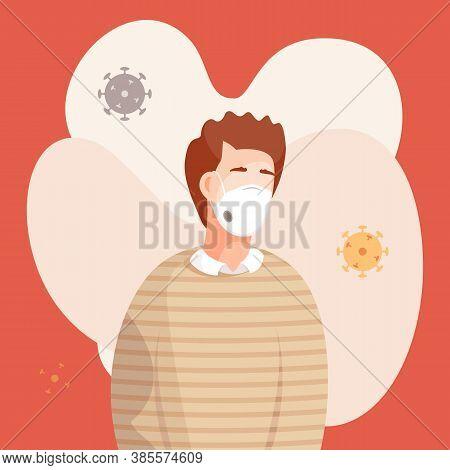 Cartoon Icon, Portrait Of Young Man In Respiratory Mask With Flying Virus Pathogen Around. Stop Viru