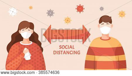 People Must Following Rules Of Quarantine During Virus Spreading. Keep Social Distance In Crowd. You