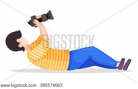 Photographer Or Paparazzi Lay Down To Take The Best Photo From Right Angle Using High Resolution Cam