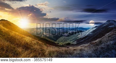 Day And Night Time Change Concept Above Mountain Landscape In Autumn. Dry Colorful Grass On The Hill