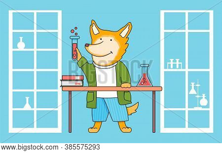 Funny Cartoon Animal Student. A Fox Schoolboy With Test Tube In Hands In Chemistry Class. Smart Acti