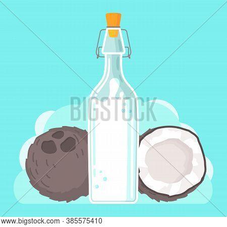 Plant-based Vegan Coconut Milk. Healthy Cow Alternative To Lactose Milk, An Environmentally Friendly