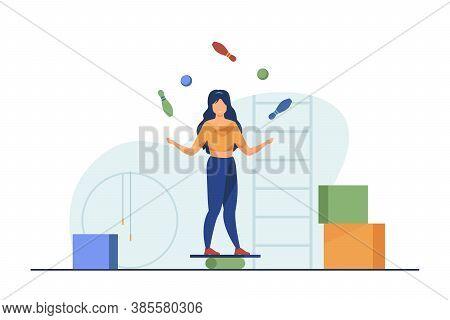 Woman Balancing And Juggling With Skittles And Balls. Gym, Circus, Juggler Flat Vector Illustration.