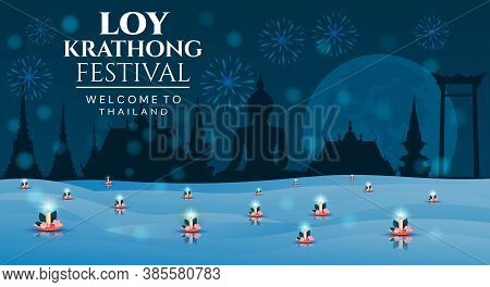 Loy Krathong - Welcome To Thailand Poster Design For The Festival Of Lights With Floating Lotus Cand