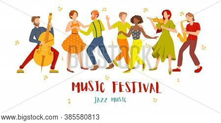 Jazz Music Festival Concept With Musicians And Diverse Couples Dancing Isolated On White, Colored Ve