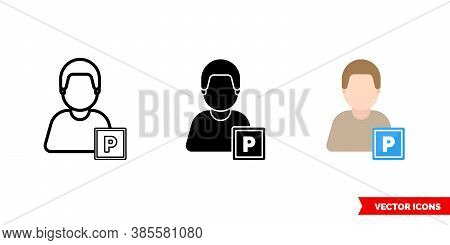 Car Parker Icon Of 3 Types Color, Black And White, Outline. Isolated Vector Sign Symbol.