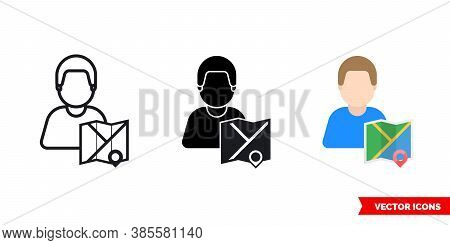 Cartographer Mapmaker Icon Of 3 Types Color, Black And White, Outline. Isolated Vector Sign Symbol.