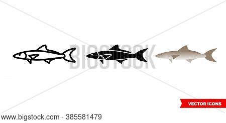 Cobia Fish Icon Of 3 Types Color, Black And White, Outline. Isolated Vector Sign Symbol.