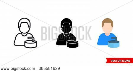 Curler Icon Of 3 Types Color, Black And White, Outline. Isolated Vector Sign Symbol.