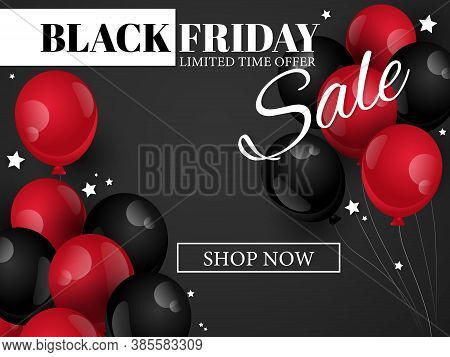 Vector Black Friday Banner Of Realistic Black And Red Color Balloons With Tiny Stars On Black Backgr