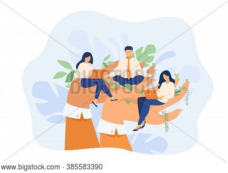 Giant Hands Holding Working Employees. Employer Taking Care About Workers. Vector Illustration For G