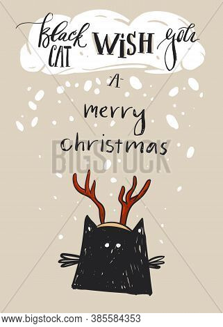 Hand Drawn Vector Abstract Merry Christmas Greeting Card Template With Cute Black Cat Character In D