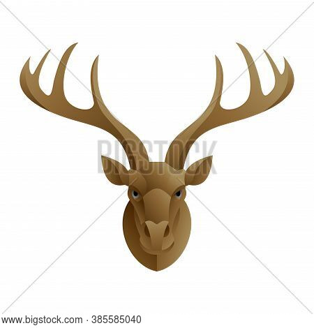 Stag Head - Hunting Trophy Deer On The Wall Or Logo Template With Deer - Isolated Vector Polygonal I