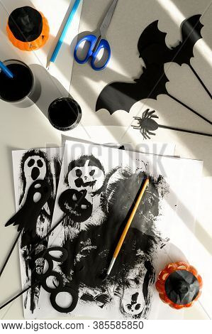 Preparing For Halloween. Handmade Crafts. Top View Of Making Paper Decorations For Halloween Party O