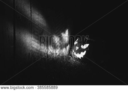 Halloween Pumpkin Lights Up A Wooden Wall At Night Outside. Glowing Face Jack-o-lantern Pumpkin On T