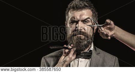 Vintage Barbershop, Shaving. Bearded Man, Bearded Male. Portrait Beard Man. Barber Scissors And Stra