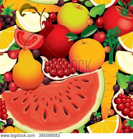 Seamless Pattern With Lots Of Whole And Sliced Fruits, Berries, And Vegetables. Summer Vector Backgr
