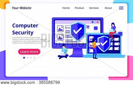 Cyber Security Concept, People Work On Laptop Protecting Data And Confidentiality. Modern Flat Web P