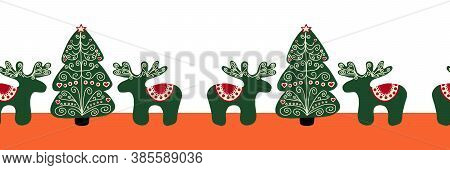 Folk Art Seamless Christmas Tree And Reindeer Border. Repeating Holiday Design Scandinavian Style. U