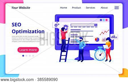 Seo Analysis Concept With People Work On Screen. Search Engine Optimization, Marketing And Strategie
