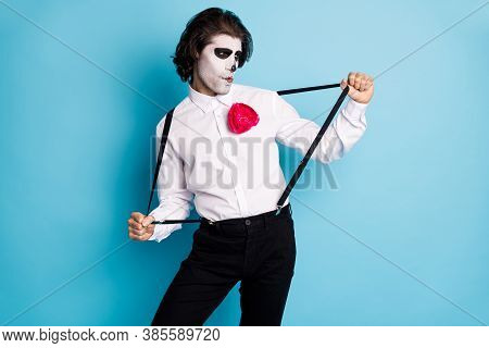Portrait Of His He Handsome Cool Creepy Diabolic Elegant Gentleman Guy Having Fun Pulling Suspenders