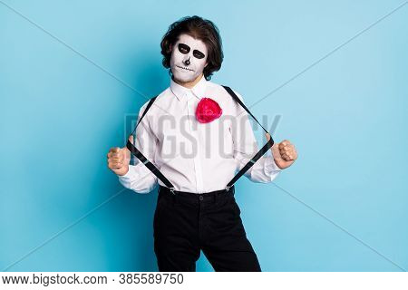 Portrait Of His He Handsome Cool Content Creepy Elegant Gentleman Guy Having Fun Pulling Suspenders