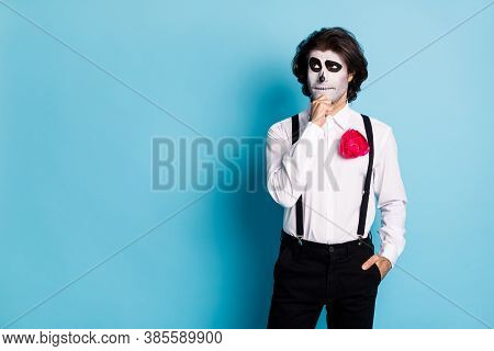 Portrait Of His He Handsome Minded Pensive Creepy Guy Formal Wear Pondering Copy Empty Space Event C