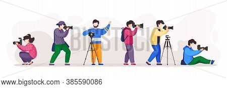 Paparazzi, Photographers With High Resolution Camera Isolated At White Background. People In Differe