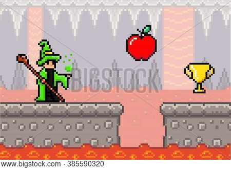 Pixel Art Game Background With Wizard And Lava River. Pixwlated Game Scene With Concrete Plarforms,