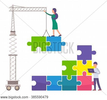 People Connecting Pieces Of Huge Puzzle With Crane. Joint Work At Business Project, Teamwork Concept