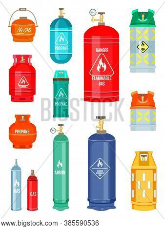 Set Of Gas Cylinder Vector Tank. Propane Bottle Icon Container. Oxygen Gas Cylinder Canister Fuel St