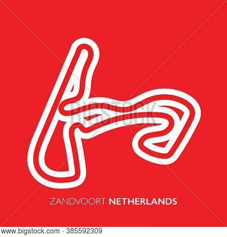 Zandvoort Circuit, Netherlands. Motorsport Race Track Vector Map