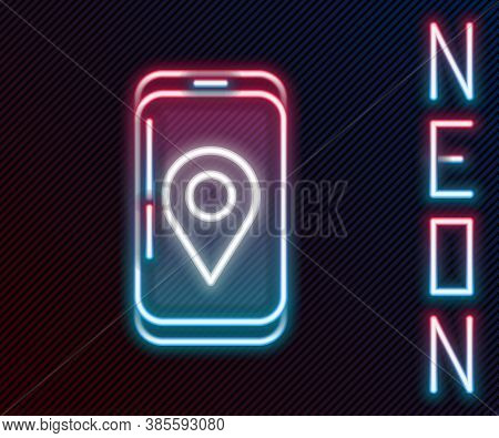Glowing Neon Line Mobile Smart Phone With App Delivery Tracking Icon Isolated On Black Background. P