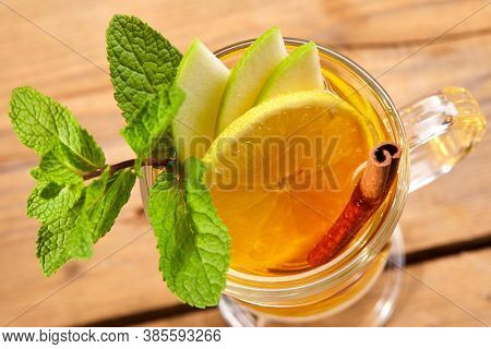 winter drink with fruits and spices