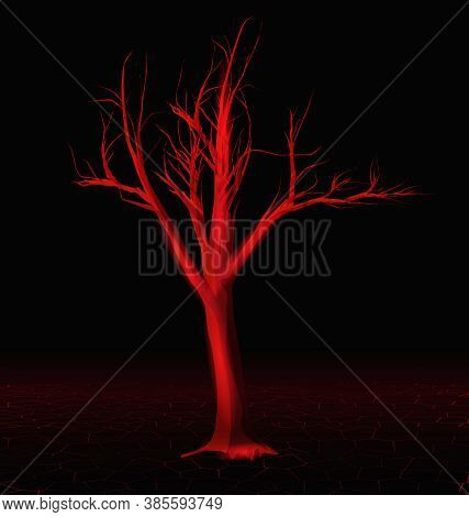Abstract Dark Landscape With Red Horror Tree