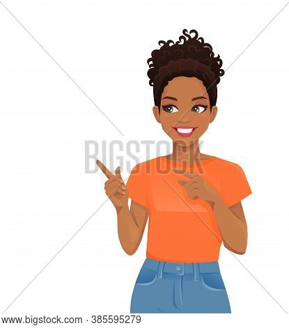 Young African Cheerful Woman In Casual Style Clothes Pointing Away Isolated Vector Illustration