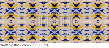 Aztec Rugs. Blue Texture. Abstract Kaleidoscope Print. Tie Dye Illustration. Ikat Asian Print. Triba