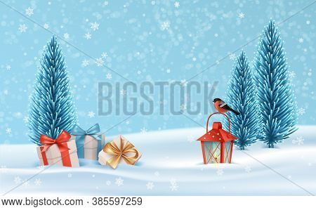 Christmas Holiday Serene Landscape. Winter Holiday Scene With Christmas Tree, A Gift, Old Lantern An
