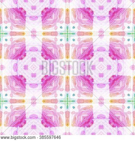 Aztec Rugs. Abstract Kaleidoscope Design. Blue, White, Indigo, Denim Seamless Texture. Seamless Tie