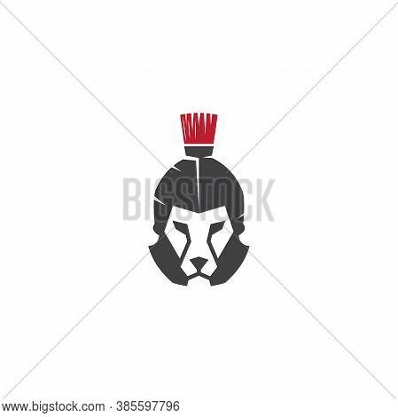 Lion Warrior Logo Design Vector Template, Lion Head And Warrior Helmet