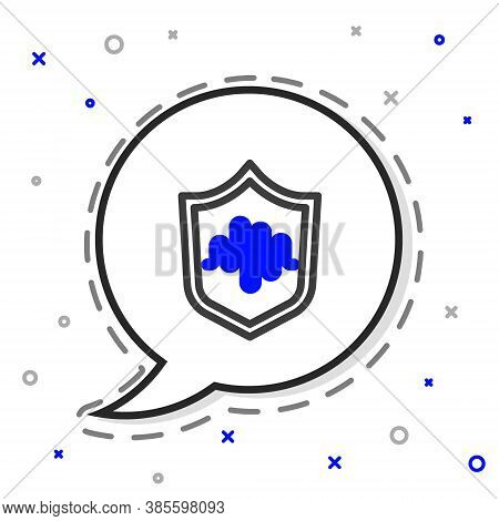 Line Shield Voice Recognition Icon Isolated On White Background. Voice Biometric Access Authenticati