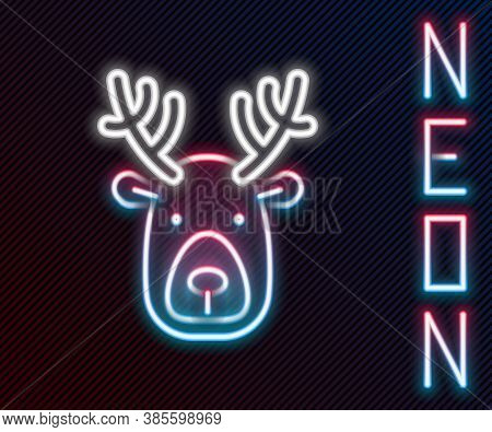Glowing Neon Line Deer Head With Antlers Icon Isolated On Black Background. Colorful Outline Concept