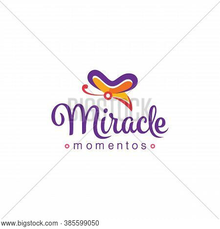 Colorful Butterfly Logo Design With Miracle Typography Text Suitable For Fancy Shop
